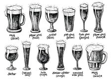 Ölexponeringsglas och rånar typer Drog tappningillustrationer för vektor hand royaltyfri illustrationer