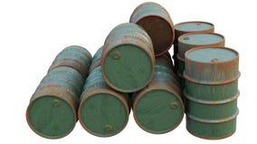 Ölfässer alt und rostig Metallbehälter, die Behälter lokalisiert auf weißem Hintergrund stock abbildung