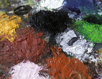 Ölfarbe-Palettenhintergrund Stockbilder