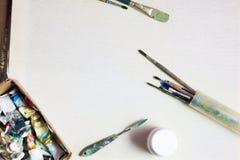 Ölfarben auf Segeltuch Abbildung mit abstrakten Zeilen Lizenzfreie Stockfotografie