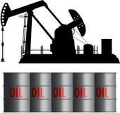 Ölfeld und Fässer Lizenzfreies Stockfoto