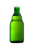 Ölflaska för grönt exponeringsglas med det vita locket på vit Royaltyfri Foto