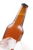Ölflaska och is Royaltyfri Fotografi