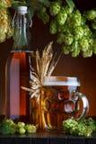 Ölflaska och exponeringsglas med ny grön flygtur Royaltyfri Fotografi