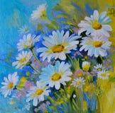 Ölgemälde - abstrakte Illustration von Blumen, Gänseblümchen, Grüns lizenzfreie abbildung