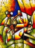 Ölgemälde - abstraktes Gesicht lizenzfreie abbildung