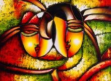 Ölgemälde - abstraktes Gesicht stock abbildung