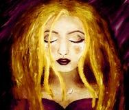Ölgemälde auf Segeltuch Blondine, die auf einem dunklen purpurroten Hintergrund schreien Stockfotos