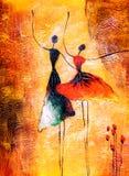 Ölgemälde - Ballett-Tanzen vektor abbildung
