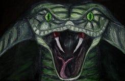 Ölgemälde der Nahaufnahme einer grünen bedrohlichen Kobraschlange mit grünen Augen auf Segeltuch, gefährliches Tier lokalisiert a stock abbildung
