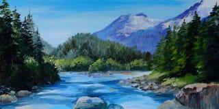Ölgemälde - Gebirgsfluss, Felsen und Wald, abstrakte Zeichnung stock abbildung