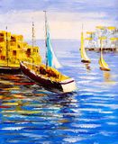 Ölgemälde - Hafen-Ansicht stock abbildung
