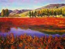 Ölgemälde - Herbst-Feld stock abbildung