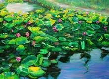 Ölgemälde - Lotus Stockbild