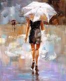 Ölgemälde - Mode-Dame lizenzfreie abbildung