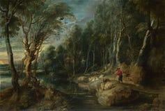 Ölgemälde Peter Paul Rubens - ein Schäfer mit seiner Menge in Woody Landscape lizenzfreie abbildung