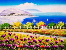 Ölgemälde - Seeküste mit blühenden Blumen stockfoto