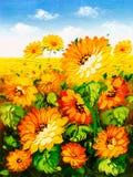 Ölgemälde - Sonnenblume lizenzfreie abbildung