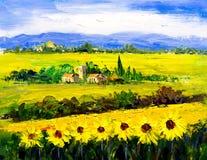 Ölgemälde - Sonnenblume Lizenzfreies Stockbild