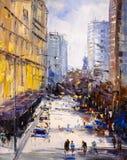 Ölgemälde - städtische Straßen-Ansicht stock abbildung