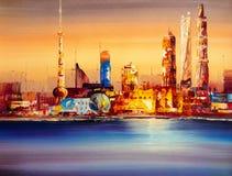Ölgemälde - Stadt-Ansicht von Shanghai stock abbildung