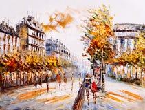 Ölgemälde - Straßen-Ansicht von Paris lizenzfreie abbildung