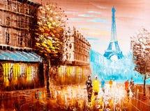 Ölgemälde - Straßen-Ansicht von Paris stock abbildung