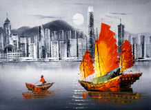 Ölgemälde - Victoria Harbor, Hong Kong vektor abbildung