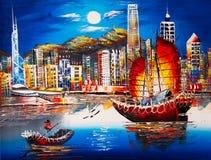 Ölgemälde - Victoria Harbor, Hong Kong stockfotografie