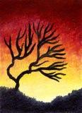 Ölgemälde-Wüstenbaum lizenzfreie abbildung