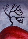 Ölgemälde-Wüstenbaum stock abbildung