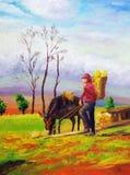Ölgemälde - Weiden lassen des Pferds Stockfotografie