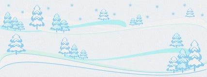 Ölgemälde-Winterhintergrund, Winterbaumfahne, frohe Weihnachten, Baum des neuen Jahres stockbilder