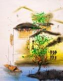 Ölgemälde - Wuzhen, China vektor abbildung