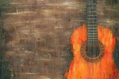 Ölgemäldeart-Zusammenfassungsbild der Akustikgitarre Lizenzfreie Stockfotos