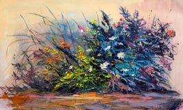 Ölgemäldegänseblümchenblumen im Garten vektor abbildung