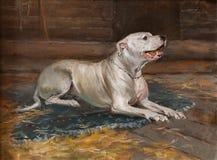 Ölgemäldeporträt von Jagd des weißen Hundes in der Halle Weiße Schablone mit rotem Punkt des Lackes auf schwarzem Hintergrund Stockbilder