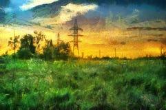Ölgemäldesonnenuntergang auf einem Gebiet in der Landschaft Lizenzfreie Stockfotografie