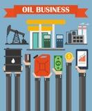 Ölgeschäfts-Konzeptdesign flach, mit den Händen Stockfotografie