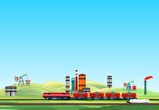 Ölindustrielandschaft, Ölzug und Raffinerien, Treibstofffabrik stockbild