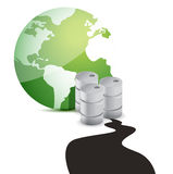 Ölpest über Planeten über weißem Hintergrund. Lizenzfreie Stockfotografie