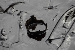 Ölpest auf dem Strand AO Prao, Insel Kho Samed. Stockfotografie