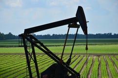 Ölplattform auf dem grünen Gebiet stockbild