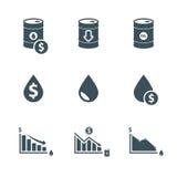 Ölpreis-Ikonensatz lizenzfreie abbildung