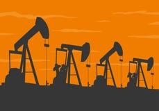 Ölpumpenschattenbild Lizenzfreie Stockfotos