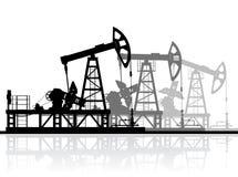 Ölpumpenschattenbild auf Weiß Lizenzfreies Stockfoto