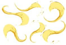 Ölspritzen lokalisiert auf weißem Hintergrund Illustrationssatz des Vektors 3d Realistische gelbe Flüssigkeit mit Tropfen Stockbild