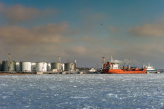 Öltanker in Chornomorsk Stockfotografie