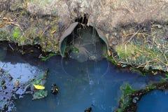 Ölteppich und schmutziger Wasserstrom aus dem Abwasserkanal, der Verschmutzung und dem en heraus Lizenzfreies Stockbild