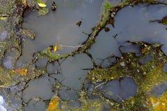 Ölteppich und schmutziger Wasserstrom aus dem Abwasserkanal, der Verschmutzung und dem en heraus Lizenzfreie Stockfotografie